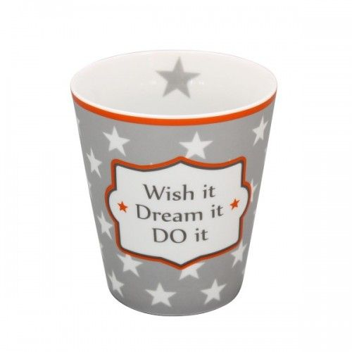 "Krus med tekst ""Wish it dream it do it"" i flot vintagestil"