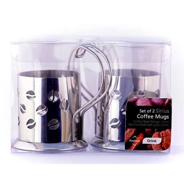 Kaffeglas i rustfrit stål og glas med flot mønster 2 stk.