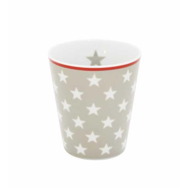 Porcelænskrus fra Krasilnikoff i gråbrunt design med hvide stjerner