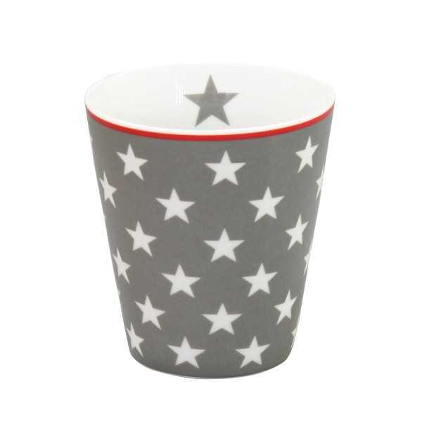 Krus i mørkegråt porcelæn med stjerner - uden hank