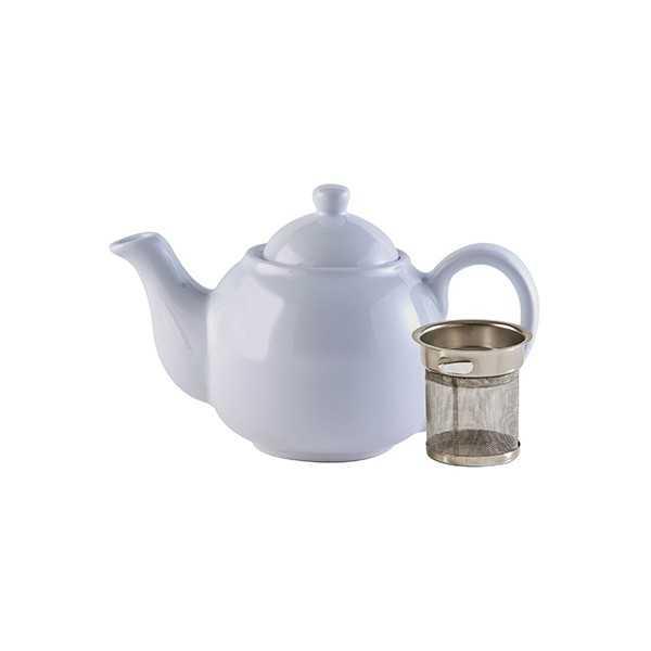 Tekande i hvid keramik med indbygget filter til 2 kopper te