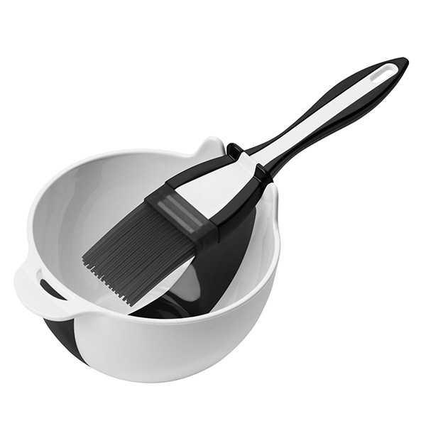 Bagepensel i silikone og lille skål til penslen