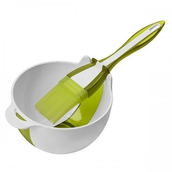 Bagepensel i silikone og lille skål til penslen - limegrøn