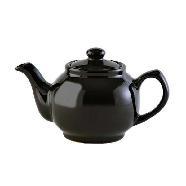 Lille tekande til to kopper te i sort keramik
