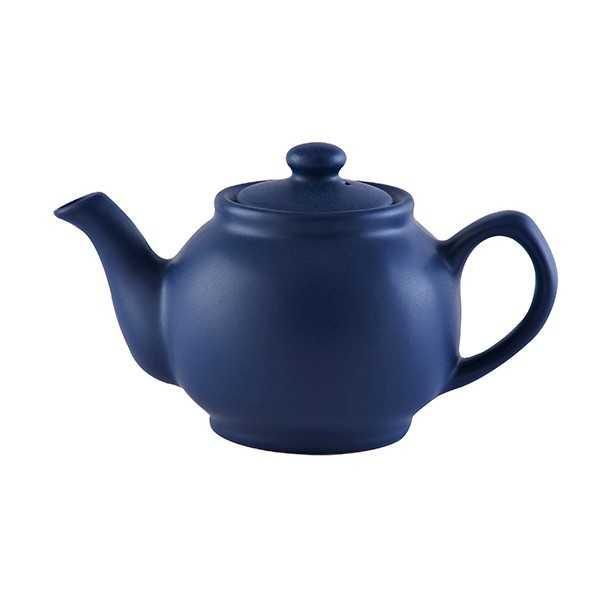Lille tekande til to kopper te i mat navy blå keramik