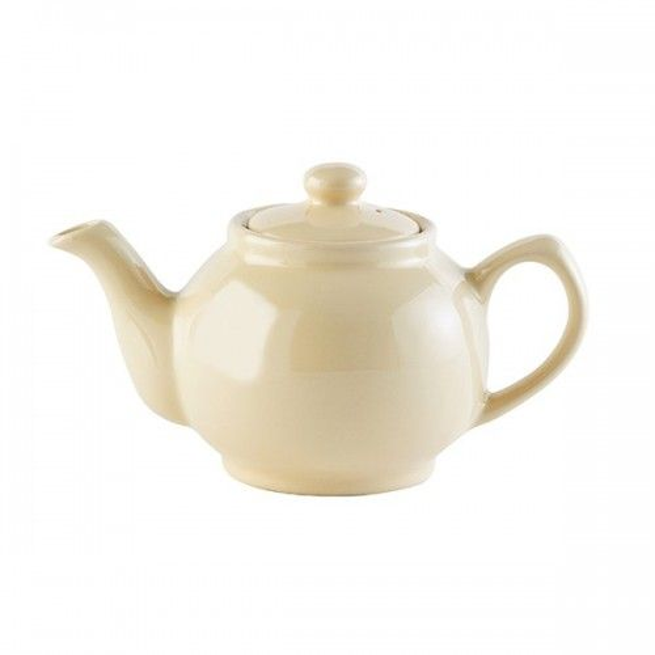 Cremefarvet lille tekande til to kopper te i keramik