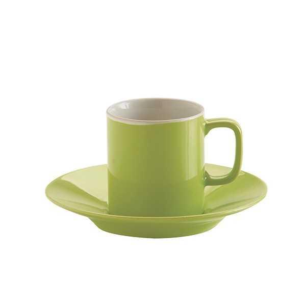 Espressokop med underkop i limegrøn keramik