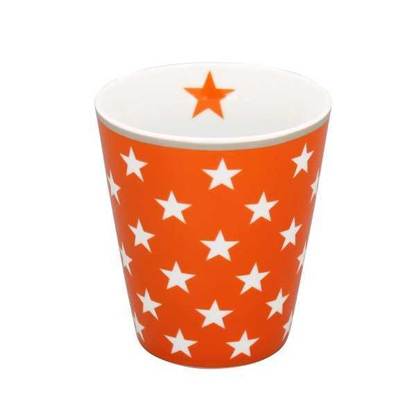 Krus i orange porcelæn med stjerner - uden hank