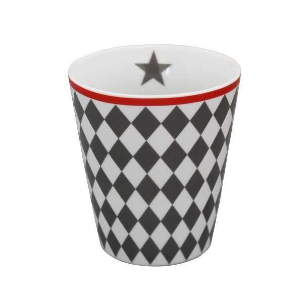 Mørkegråt te- og kaffekrus uden hank i porcelæn fra Krasilnikoff