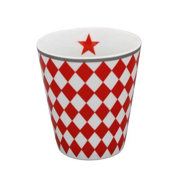 Rødt te- og kaffekrus uden hank i porcelæn fra Krasilnikoff