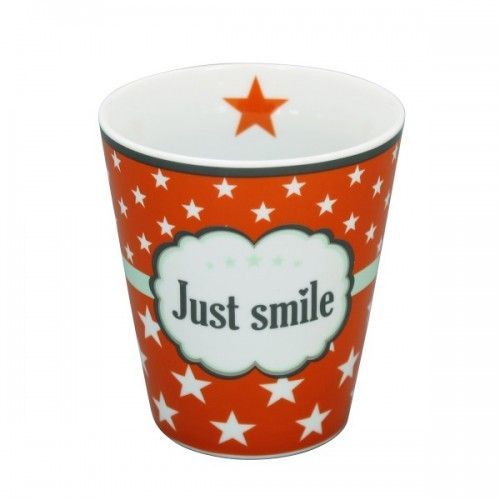 "Orange krus med tekst ""Just smile"" i flot vintagestil"