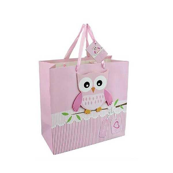 Gavepose med sød ugle pink