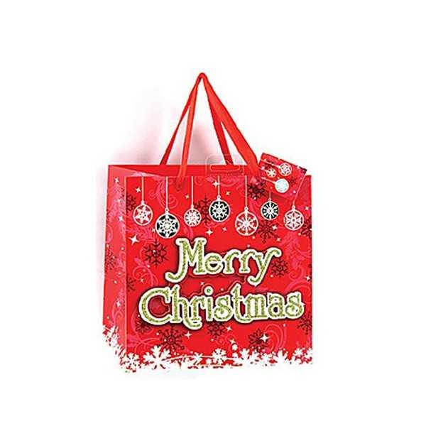 Gavepose i kraftigt papir - Merry Christmas