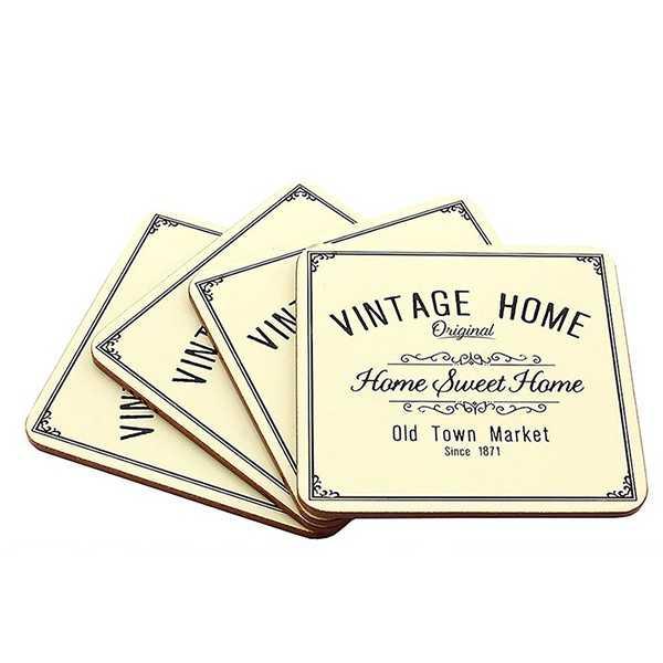Bordskånere til den varme kop med tekst Vintage Home