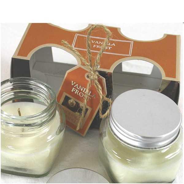 Gaveæske med  2 stk duftlys i glas - Vanilla Frost