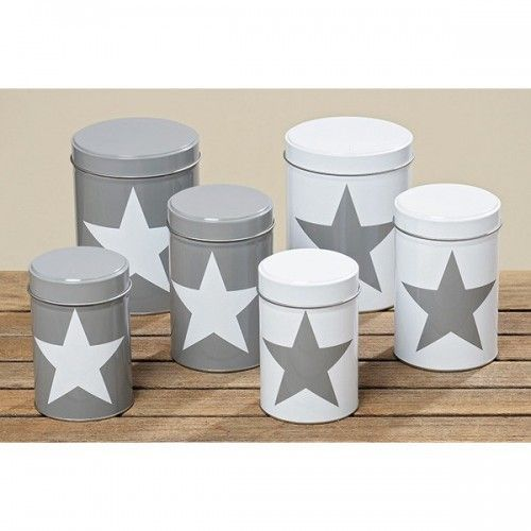 Opbevaringsdåser hvid eller grå med stjerne