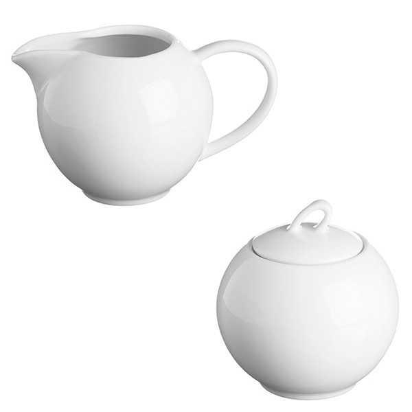 Sukkerskål og mælkekande i hvidt porcelæn