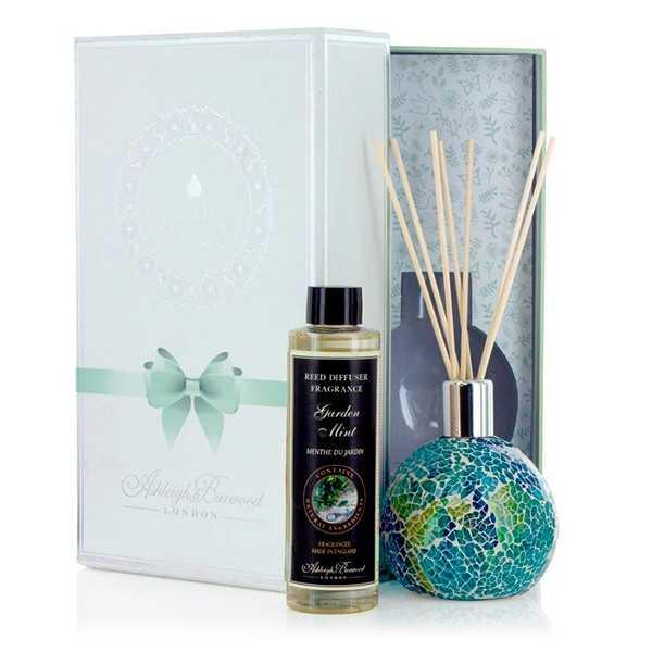 Gaveæske med duftpinde og mosaikvase – A Drop of Ocean & Garden Mint