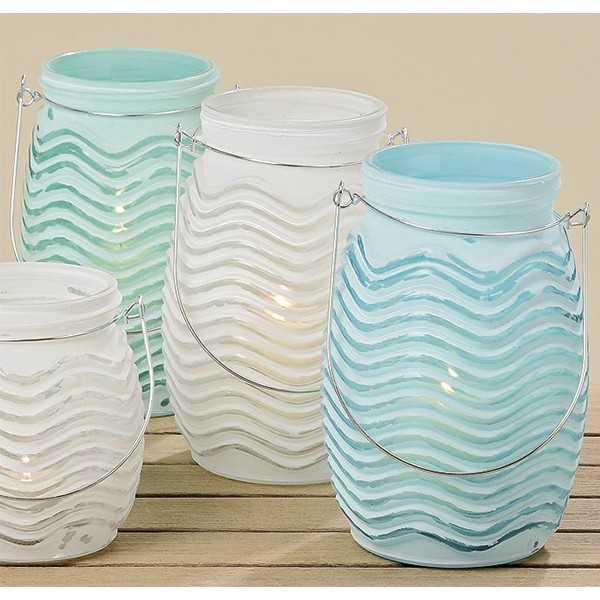 Store fyrfadsstager / lanterner i glas i tre forskellige farver