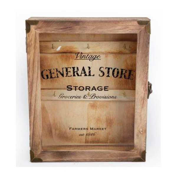 Nøgleskab i træ med glaslåge - General store