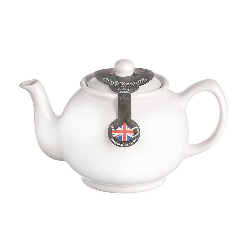 Tekande i hvid keramik til 6 kopper te