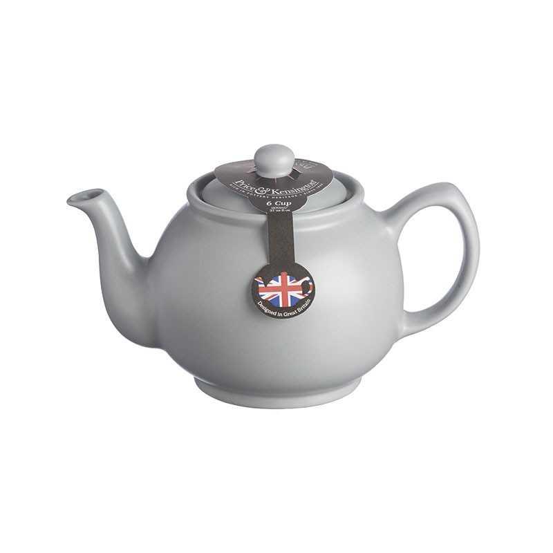 Tekande til 6 kopper te i mat-grå keramik