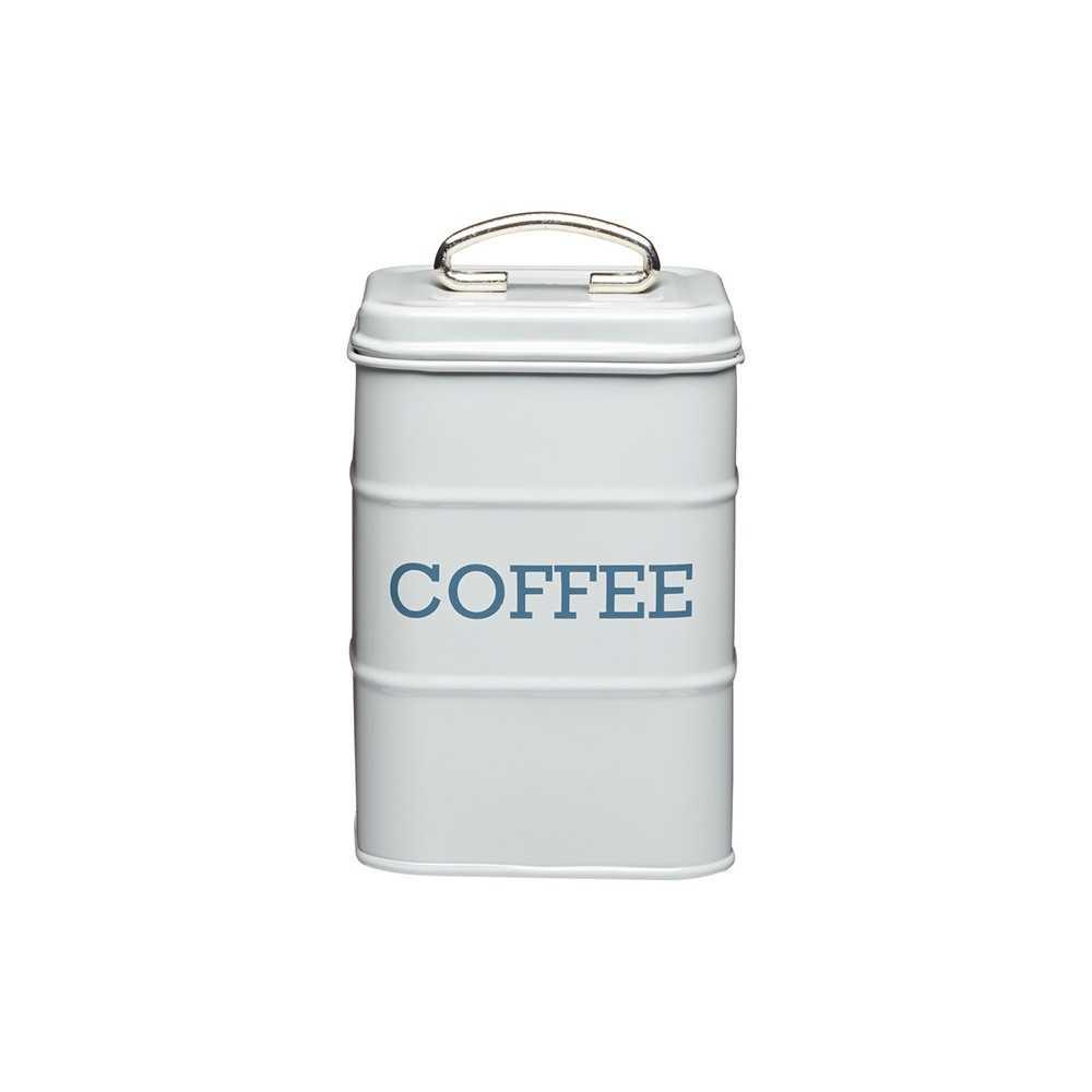 Kaffedåse med tekst i retrostil fra Kitchen Craft - lysegrå