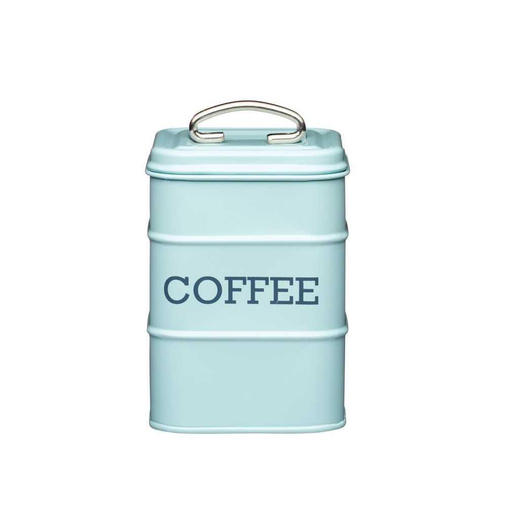 Kaffedåse med tekst i retrostil fra Kitchen Craft - lyseblå