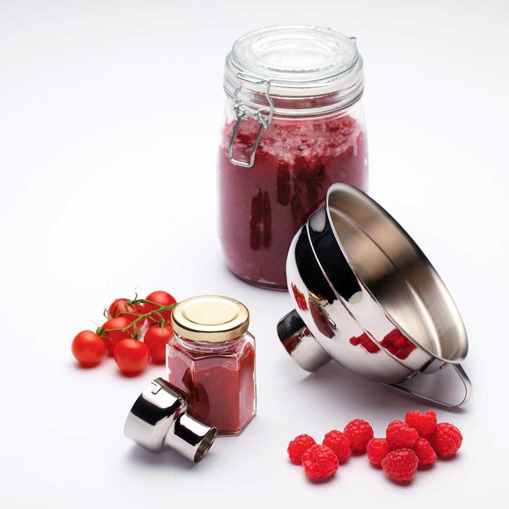 Stor tragt til marmelade i rustfrit stål med adapter til størelse