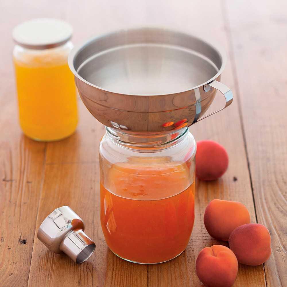 Tragt til marmelade og saft i rustfrit stål med adapter til størrelse