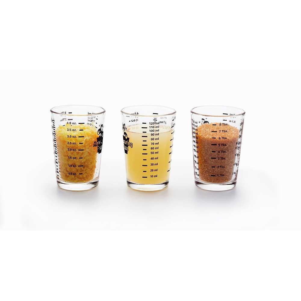 Lille målebæger i glas med 4 forskellige mål