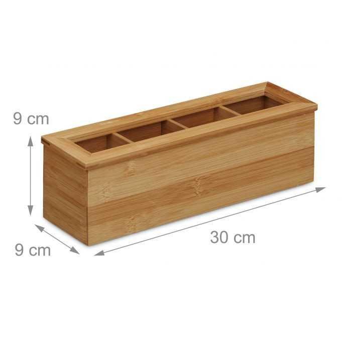 Æske til tebreve i bambus med 4 rum