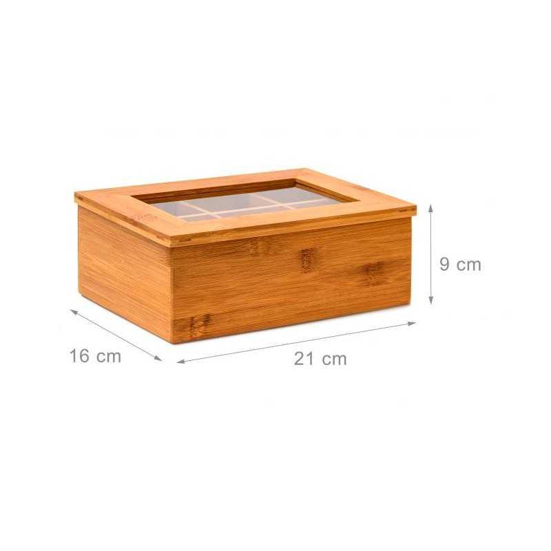 Teæske med 6 rum i bambus med glaslåg
