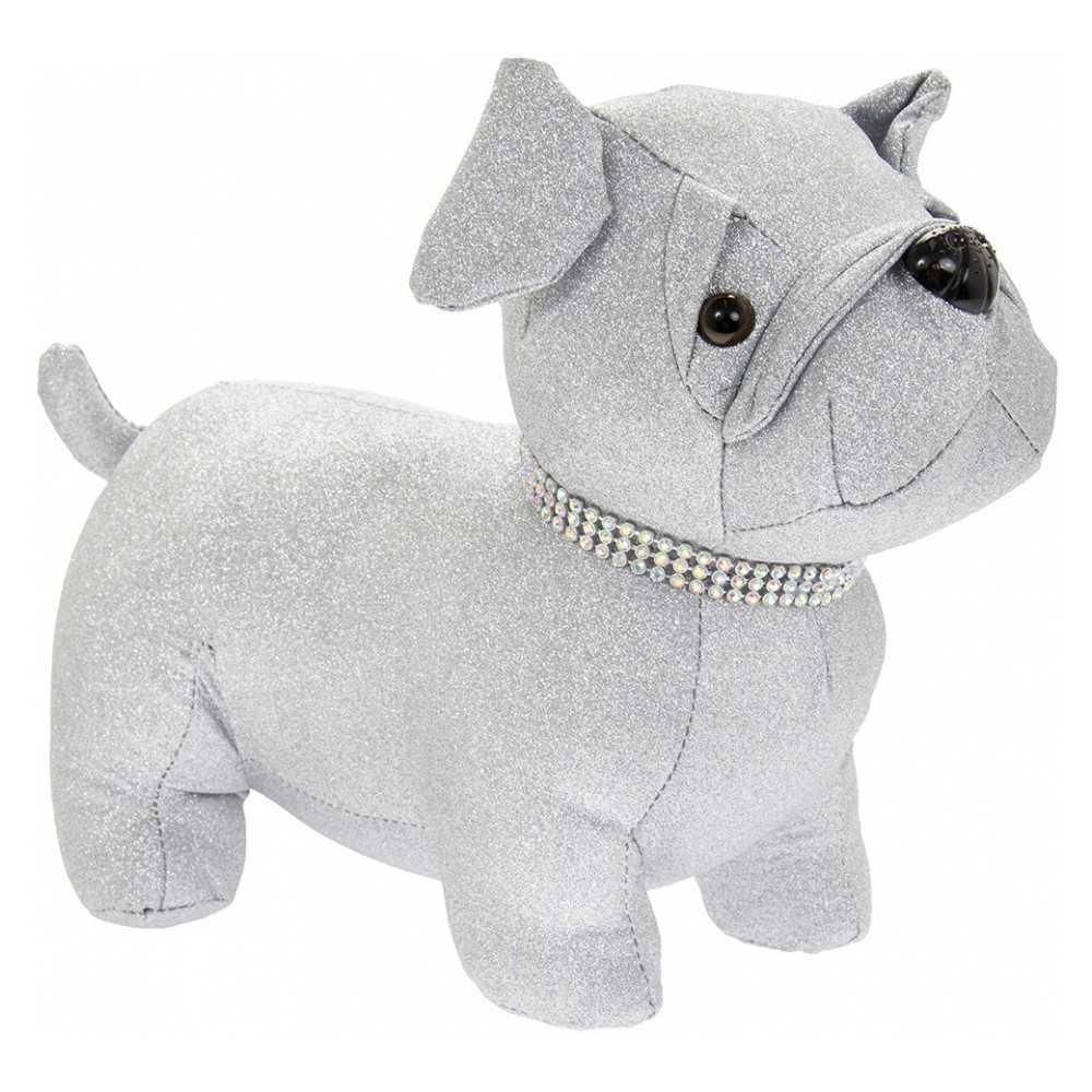Dørstopper hund mops i sølvfarvet stof