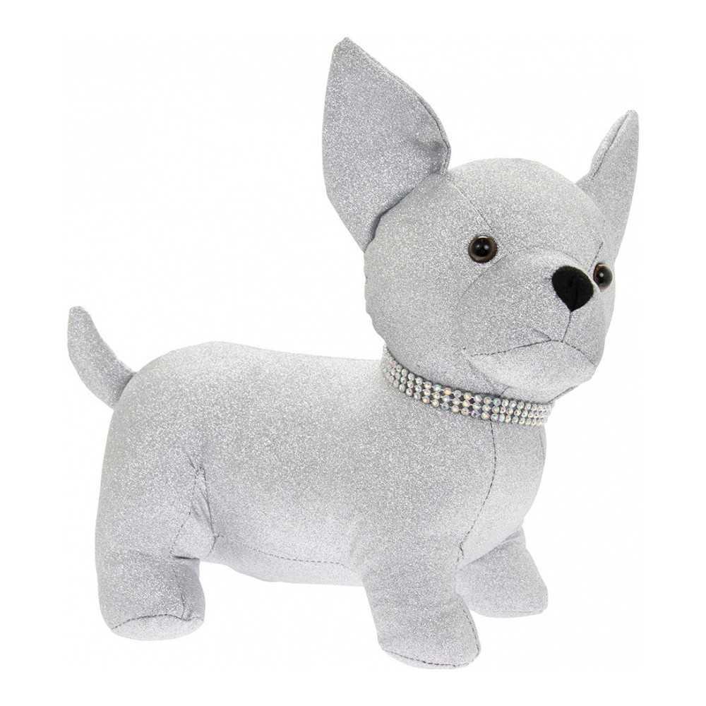 Dørstopper hund Chihuahua i sølvfarvet stof