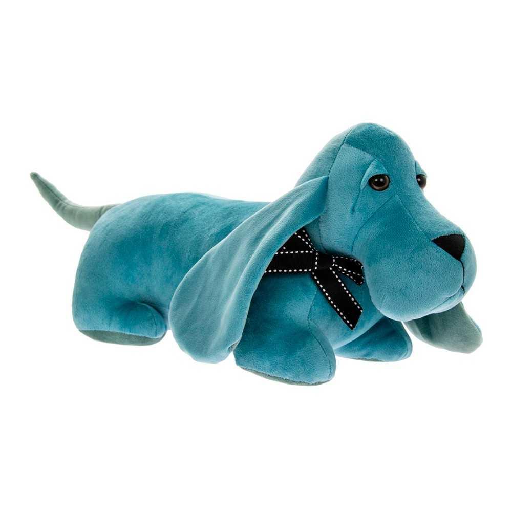 Dørstopper gravhund i blåt velourstof