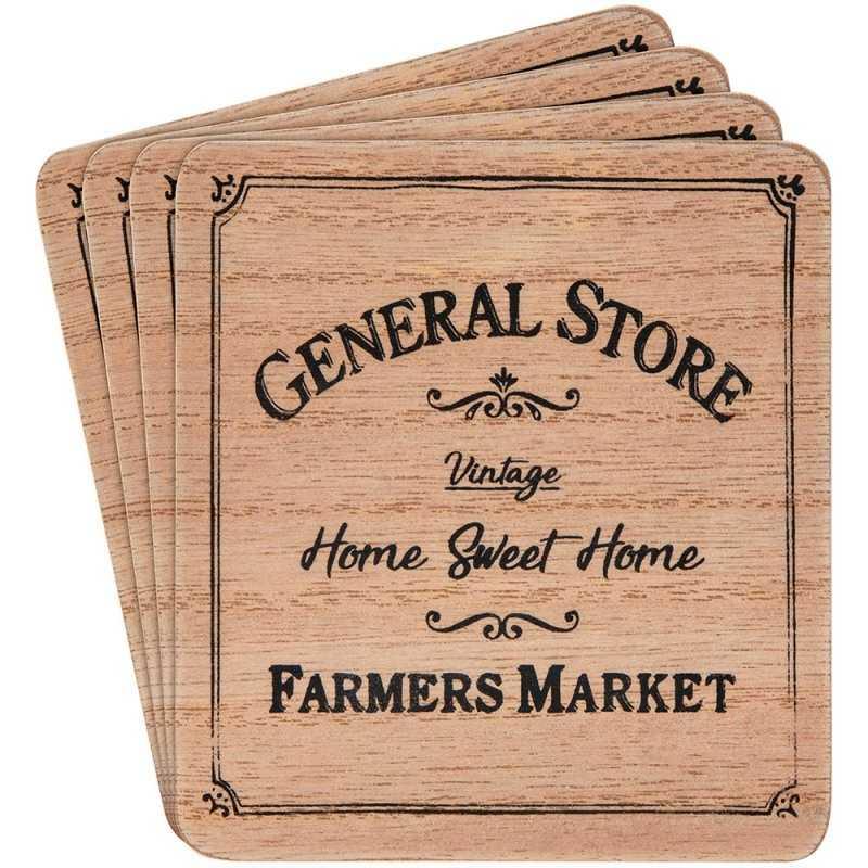 Bordskåner med tekst General Store – sæt med 4 stk.