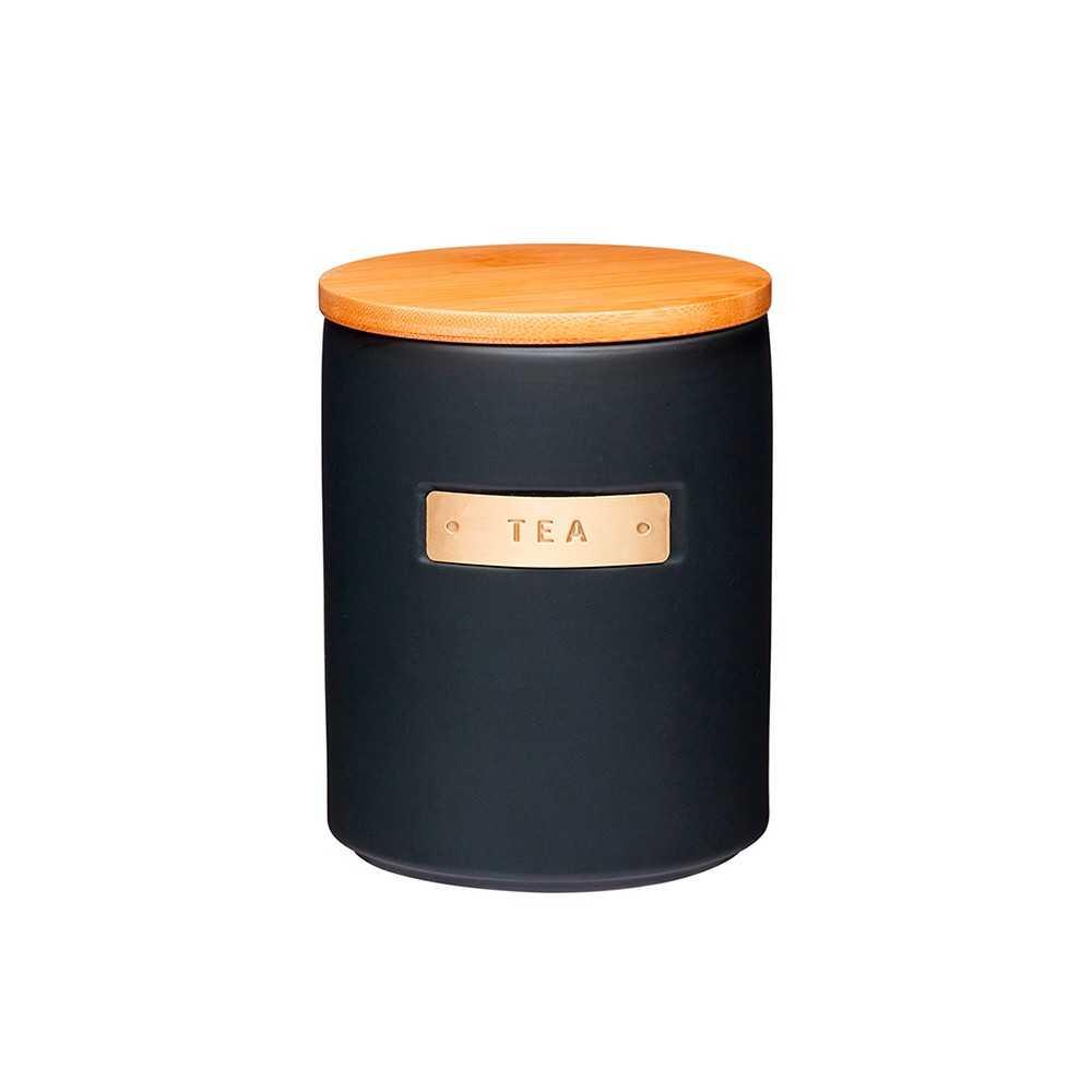 Beholder til te i keramik med bambuslåg fra Kitchen Craft